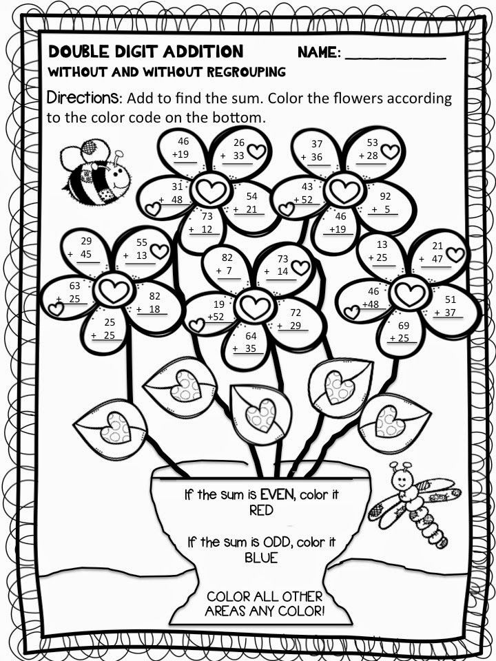 Addition with Regrouping Coloring Worksheets Color by Number Addition