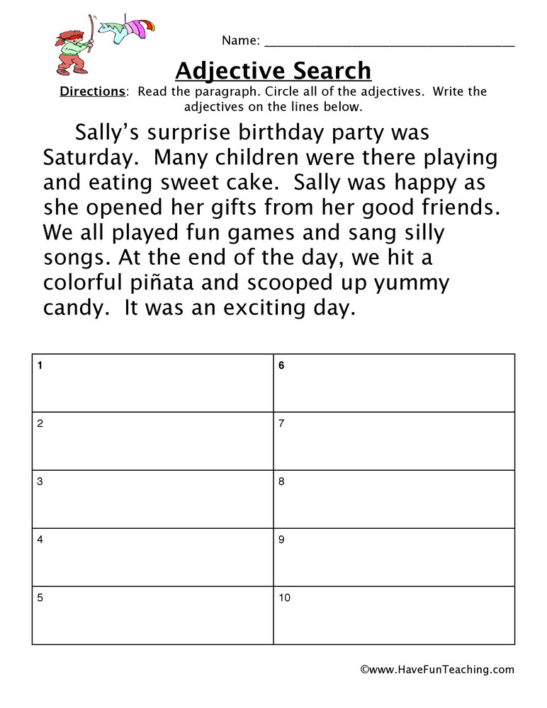 Adjective Worksheets 2nd Grade Adjective Birthday Party Worksheet