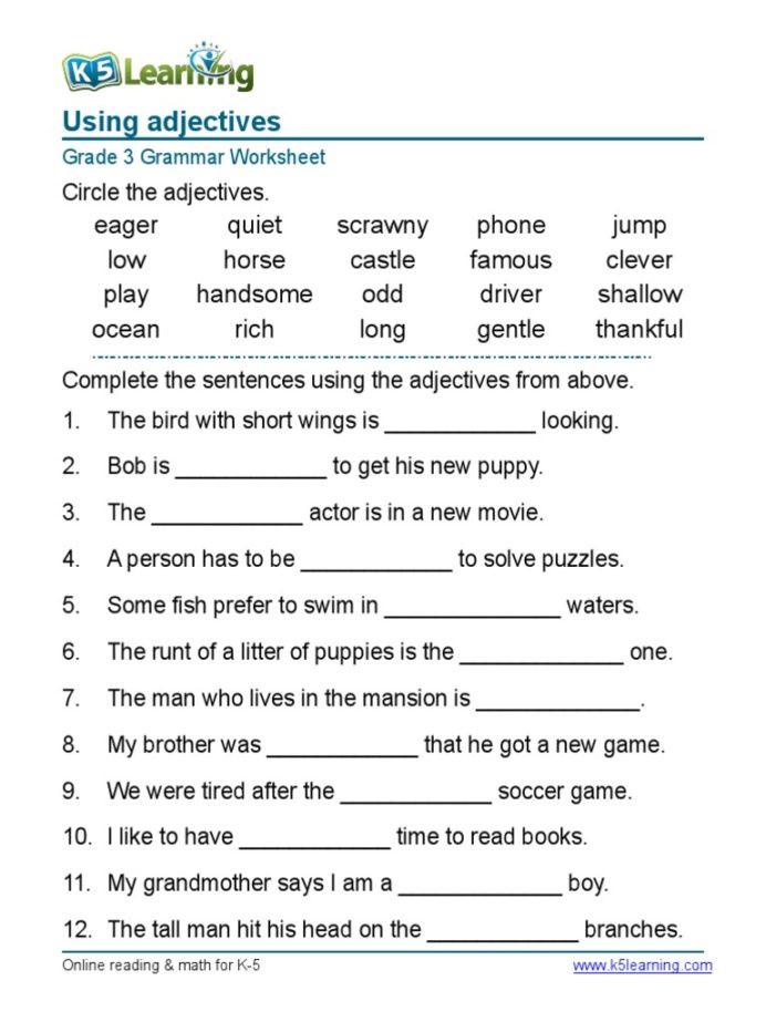 Adjectives Worksheets 3rd Grade 3rd Grade Kinds Adjectives Worksheets for Grade 3