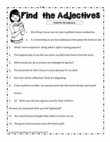 Adjectives Worksheets 3rd Grade Find the Adjectives Worksheets