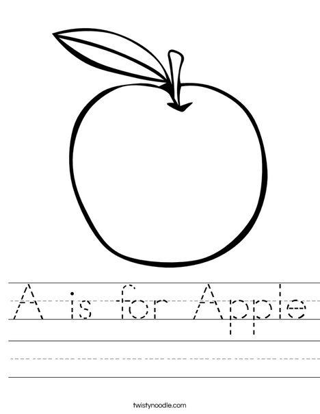 Apple Worksheets Kindergarten A is for Apple Worksheet