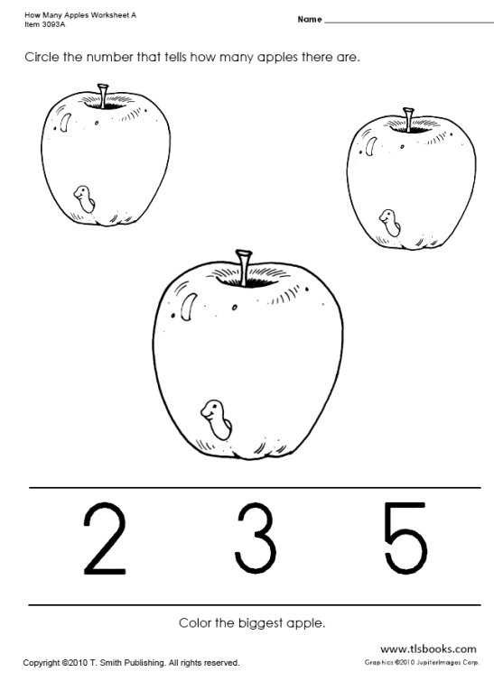 Apple Worksheets Kindergarten How Many Apples Worksheets A D