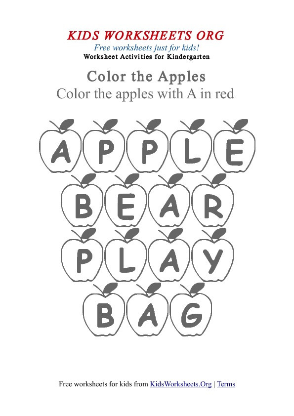 Apple Worksheets Kindergarten Kindergarten Words Worksheet with Apples