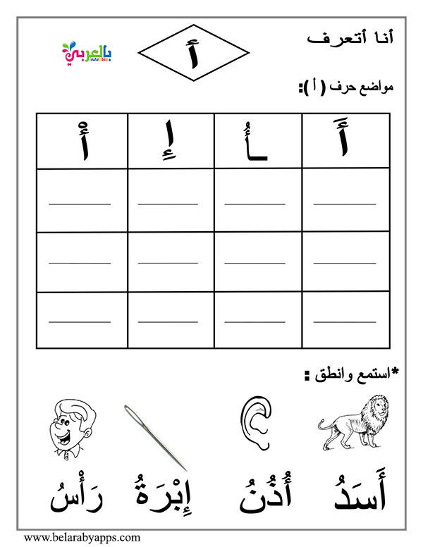 Arabic Alphabet Worksheets Printable Arabic Letter Beginning Middle End Worksheets ⋆ بالعربي نتعلم