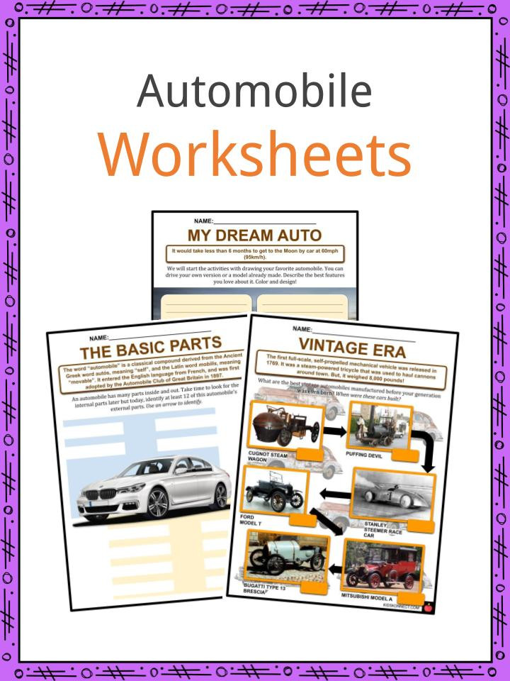 Automotive Math Worksheets Automobile Facts Worksheets History & Modern Cars for Kids