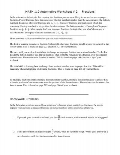 Automotive Math Worksheets Math 110 Automotive Worksheet 2 Fractions Homework Problems