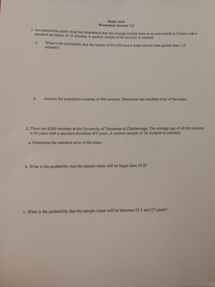 Automotive Math Worksheets solved Math 1610 Worksheet Section 7 5 1 An Automotive R