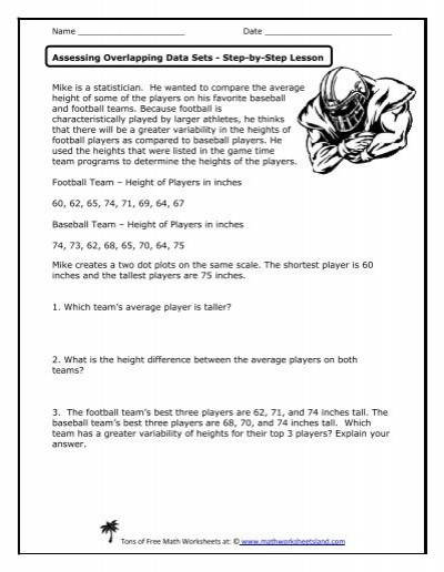 Baseball Math Worksheets assessing Overlapping Data Sets Lesson Math Worksheets Land