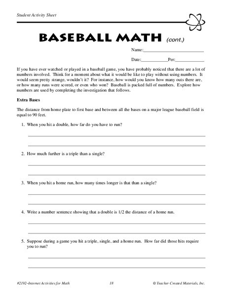 Baseball Math Worksheets Baseball Math Worksheet for 5th 6th Grade