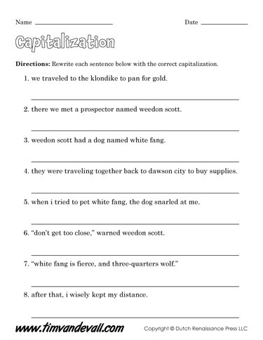 Capitalization Worksheets 4th Grade Pdf Free Capitalization Worksheets for Kids