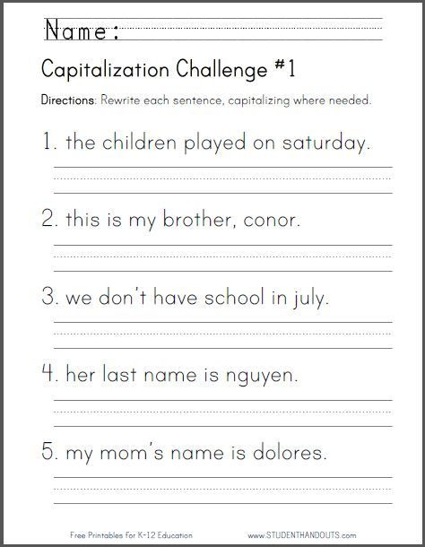 Capitalization Worksheets 4th Grade Pdf Free Printable Capitalization Challenge Worksheet