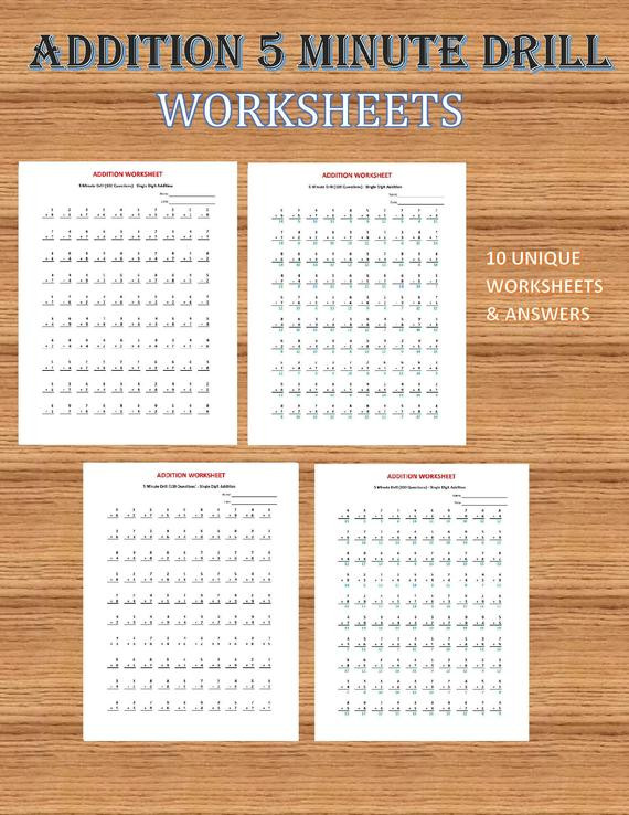 Carpentry Math Worksheets Addition 5 Minute Drill V 10 Math Worksheets with Answers Pdf Year 1 2 3 Grade 1 2 3 Printable Addition Worksheets Kindergarten