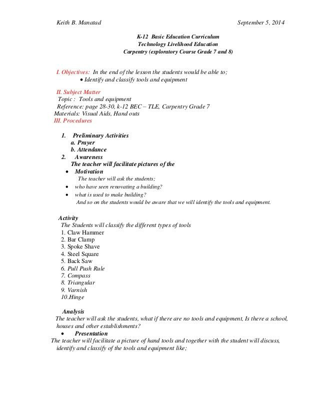 Carpentry Math Worksheets Lesson Plan In Carpentry tools