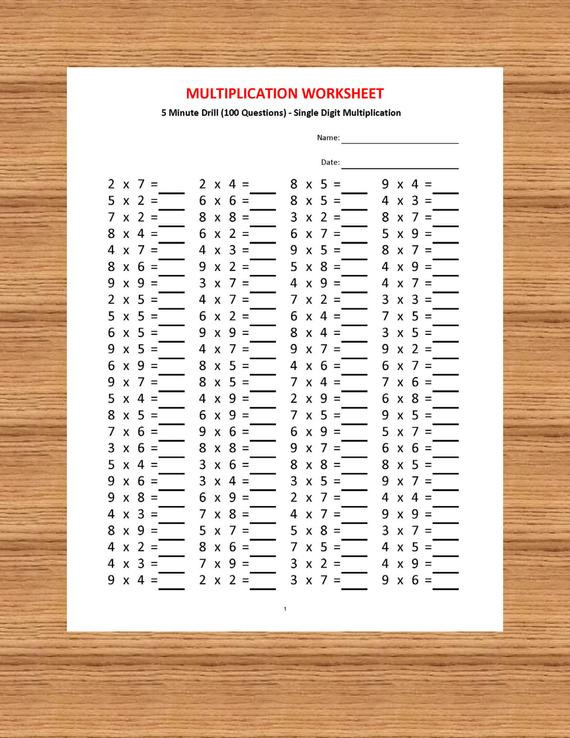 Carpentry Math Worksheets Multiplication 5 Minute Drill H 10 Math Worksheets with Answers Pdf Year 2 3 4 Grade 2 3 4 Printable Worksheets Basic Multiplication