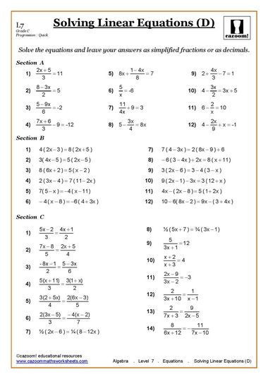 Carpentry Math Worksheets solving Equations Maths Worksheet with Images