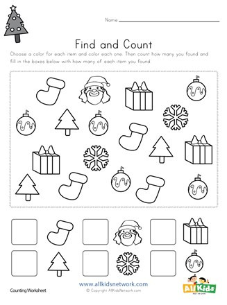 Christmas Counting Worksheets Kindergarten Christmas Find and Count Worksheet