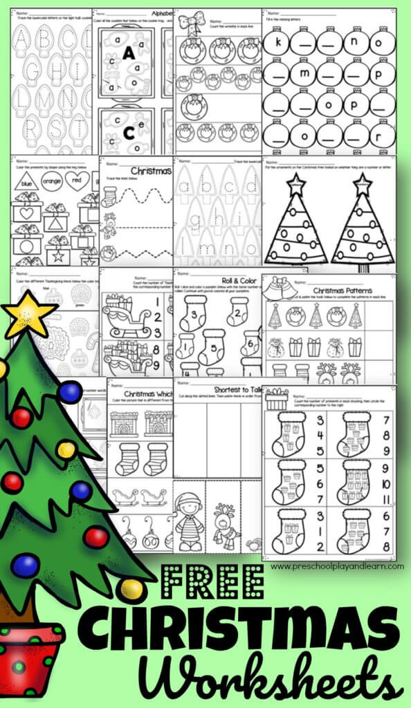 Christmas Counting Worksheets Kindergarten Free Christmas Worksheets for Preschoolers