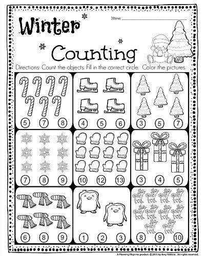 Christmas Counting Worksheets Kindergarten Kindergarten Math and Literacy Worksheets for December