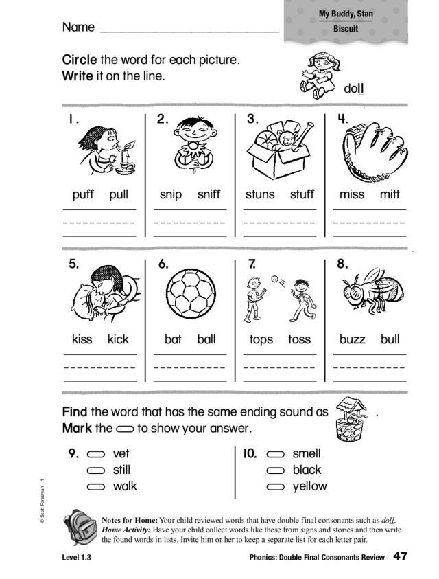 Ck Worksheets for 1st Grade Phonics Double Final Consonants Review Worksheet for 2nd