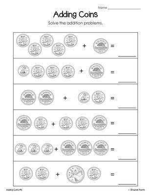 Coin Worksheets First Grade Canadian Money Worksheets Freebie From Browniepoints On