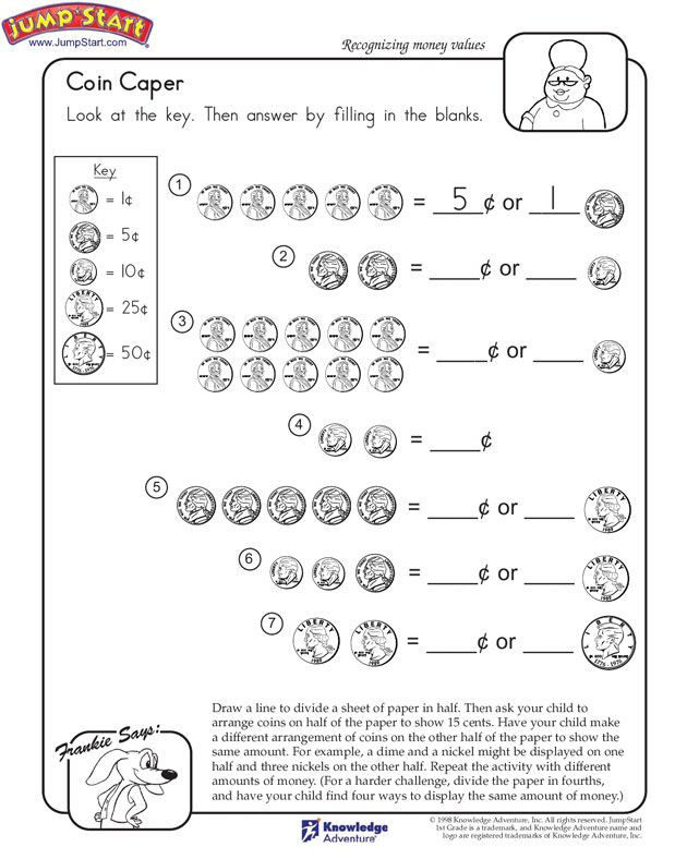 "Coin Worksheets First Grade Coin Caper"" – 1st Grade Math Worksheets Jumpstart"