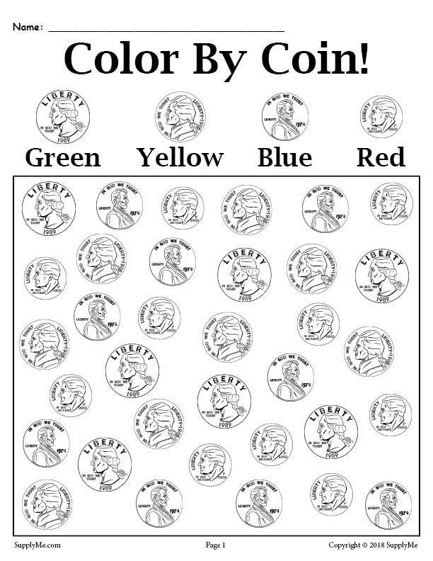 Coin Worksheets First Grade Color by Coin Printable Money Worksheet