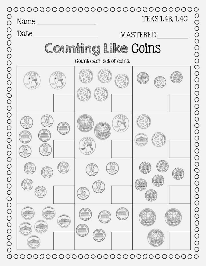 Coin Worksheets First Grade Identifying Coins and Counting Coins Freebie From Flying