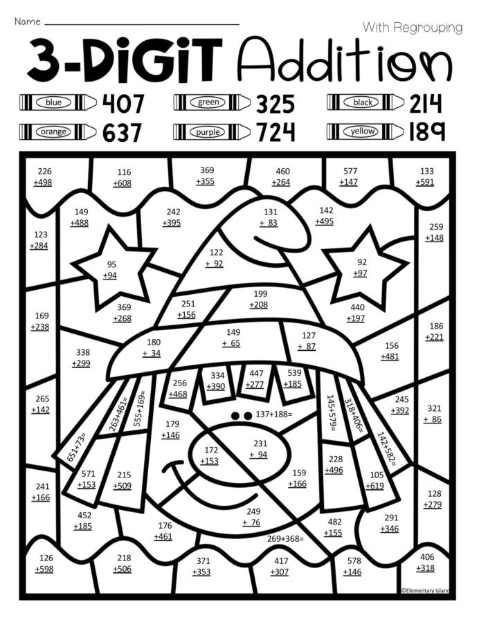 Coloring Math Worksheets 2nd Grade Halloween Three Digit Addition Color by Number with and