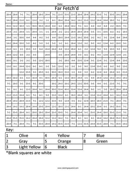 Coloring Squared Worksheets Pokemon Multiplication and Division