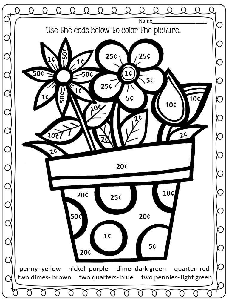 Coloring Worksheets for 2nd Grade Color by Number Spring Math Worksheet Double Digit