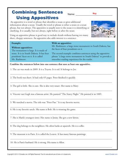 Combining Sentences Worksheets 5th Grade Bining Sentences with Appositives