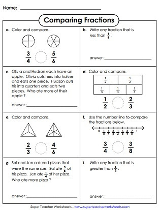 Comparing Fractions Worksheet 3rd Grade Paring & ordering Fractions Worksheets