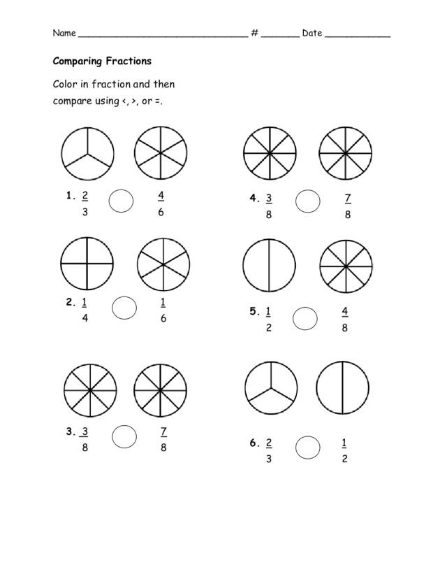 Comparing Fractions Worksheet 3rd Grade Paring Fractions Color the Wedges Worksheet for 3rd