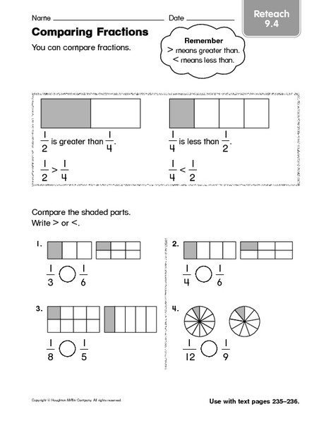 Comparing Fractions Worksheet 3rd Grade Paring Fractions Reteach 9 4 Worksheet for 2nd 3rd