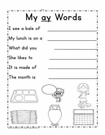 Complete Sentences Worksheets 1st Grade Ay Word Family Sentences Worksheets