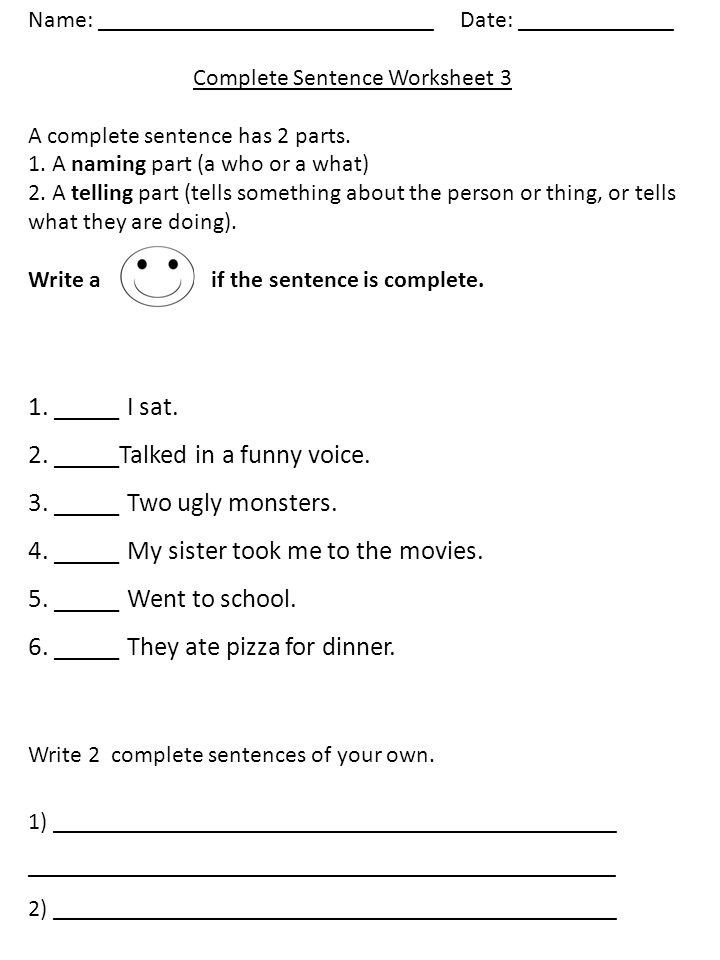 Complete Sentences Worksheets 1st Grade Name Plete Sentence Worksheet 1 A Plete