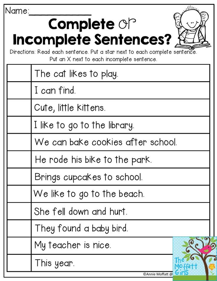 Complete Sentences Worksheets 1st Grade Writing A Plete Sentence First Grade
