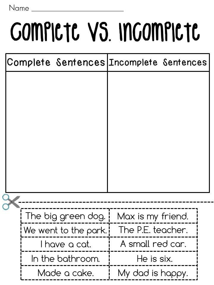 Complete Sentences Worksheets 1st Grade Writing A Plete Sentence Worksheet