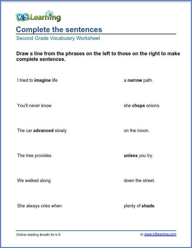 Complete Sentences Worksheets 2nd Grade 2nd Grade Vocabulary Worksheets – Printable and organized by
