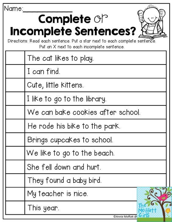 Complete Sentences Worksheets 2nd Grade Plete or In Plete Sentences Read Each Sentence and