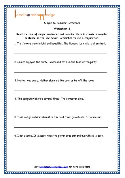 Complex Sentence Worksheets 3rd Grade Grade 4 English Resources Printable Worksheets topic Simple