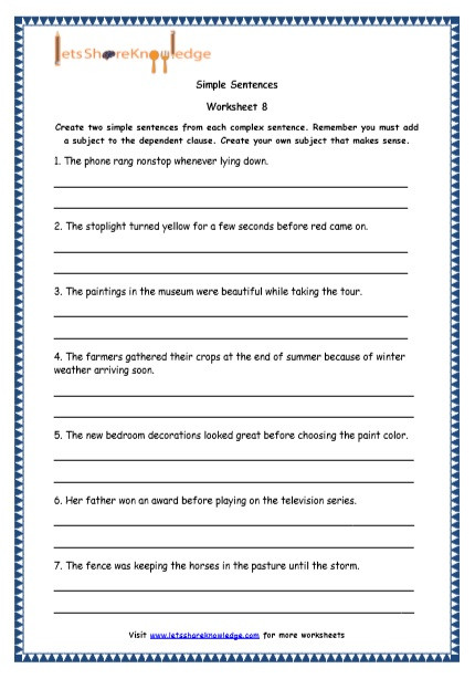 Complex Sentence Worksheets 4th Grade Grade 4 English Resources Printable Worksheets topic Simple
