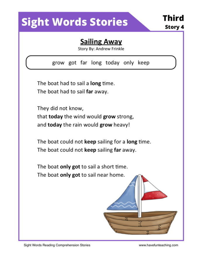 Comprehension Worksheets for First Grade First Grade Reading Prehension Worksheets Free Sight
