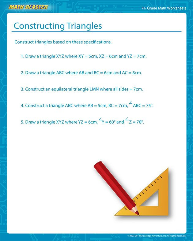 Construction Math Worksheets Constructing Triangles Free Construction Of A Triangle