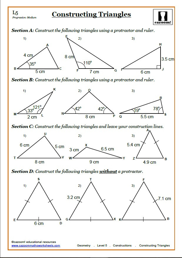Construction Math Worksheets Constructions Worksheet Pdf