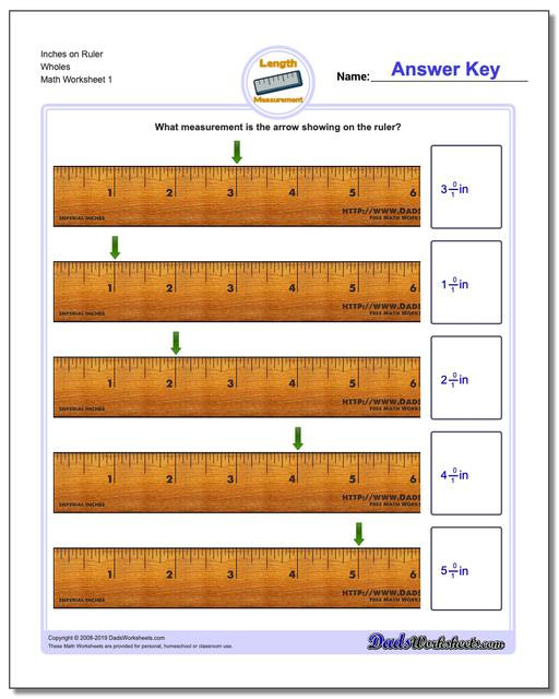 Construction Math Worksheets Inches Measurement