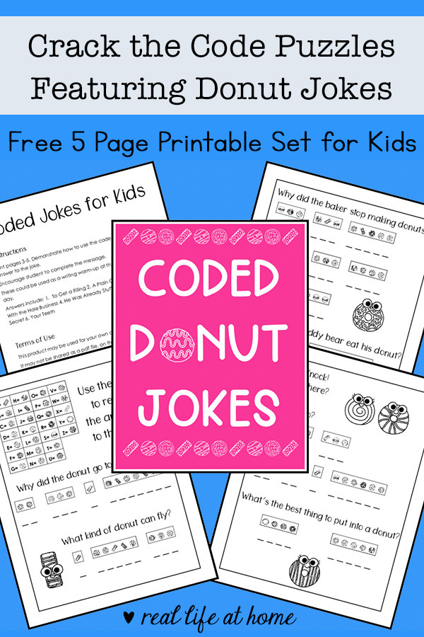 Crack the Code Math Worksheets Crack the Code Puzzles Free Printable Featuring Donut Jokes