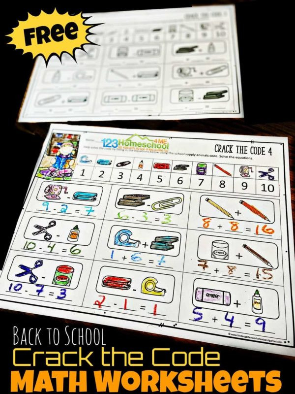 Crack the Code Math Worksheets Free Back to School Crack the Code Worksheets