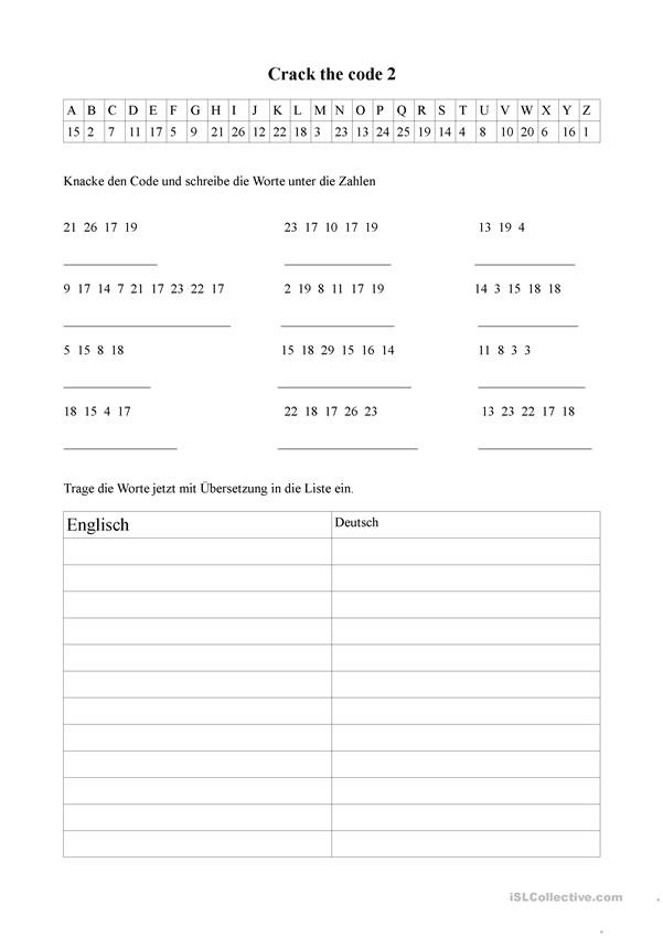 Crack the Code Worksheets Printable Crack the Code 2 English Esl Worksheets for Distance