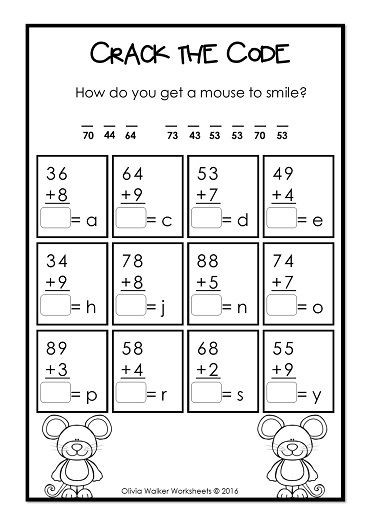 Cracking the Code Math Worksheets Addition with Regrouping Adding to 100 Two Digit Plus E